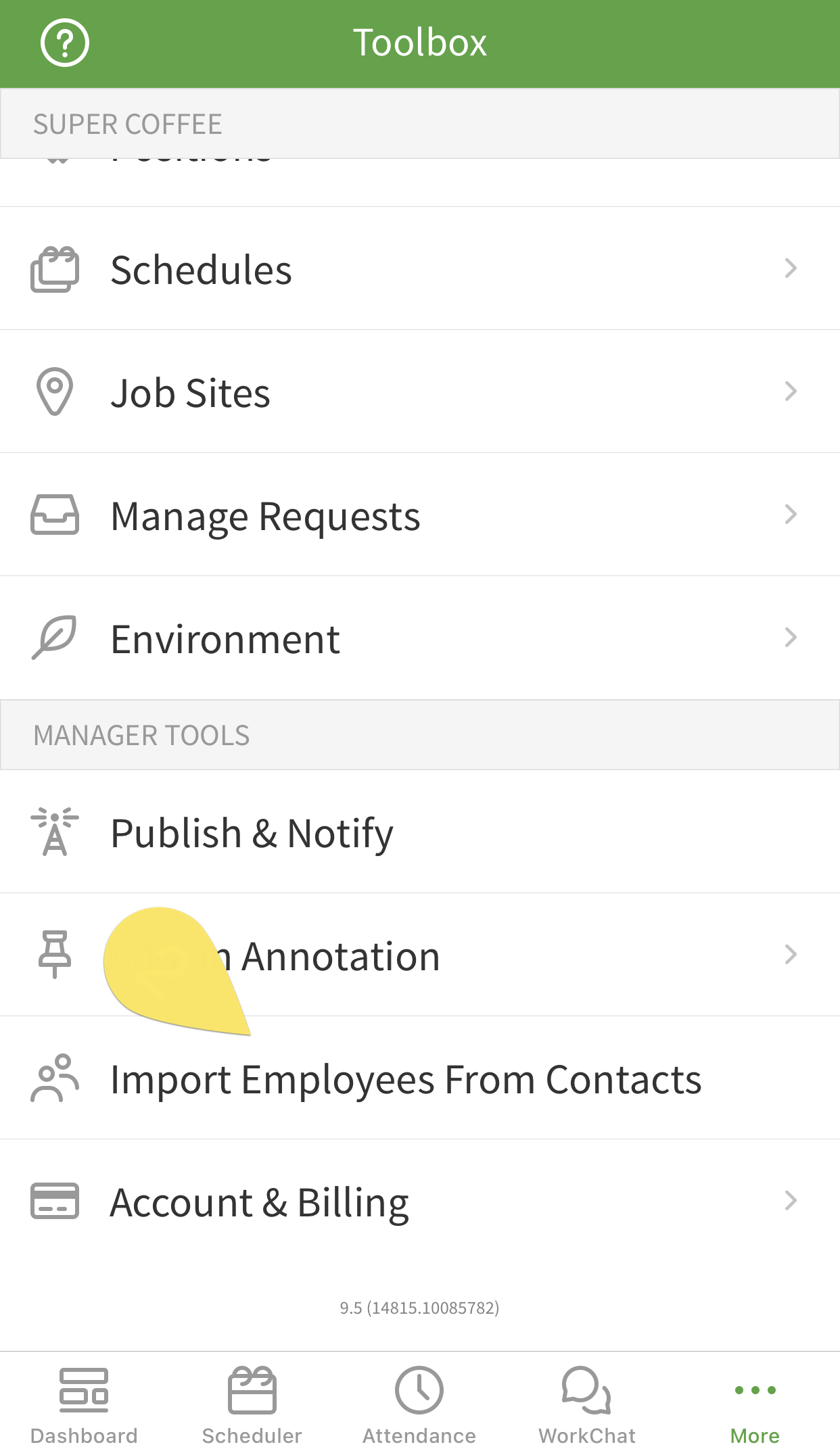 import employees from contacts button