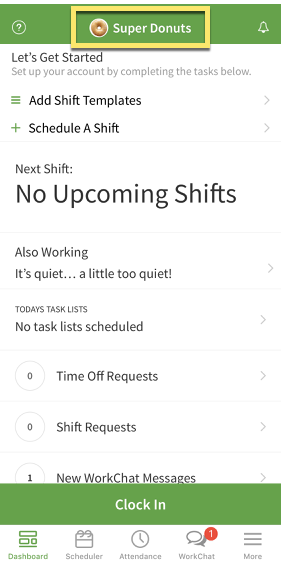 Workplace name on iOS dashboard