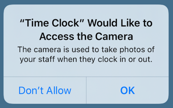 Allow camera access prompt
