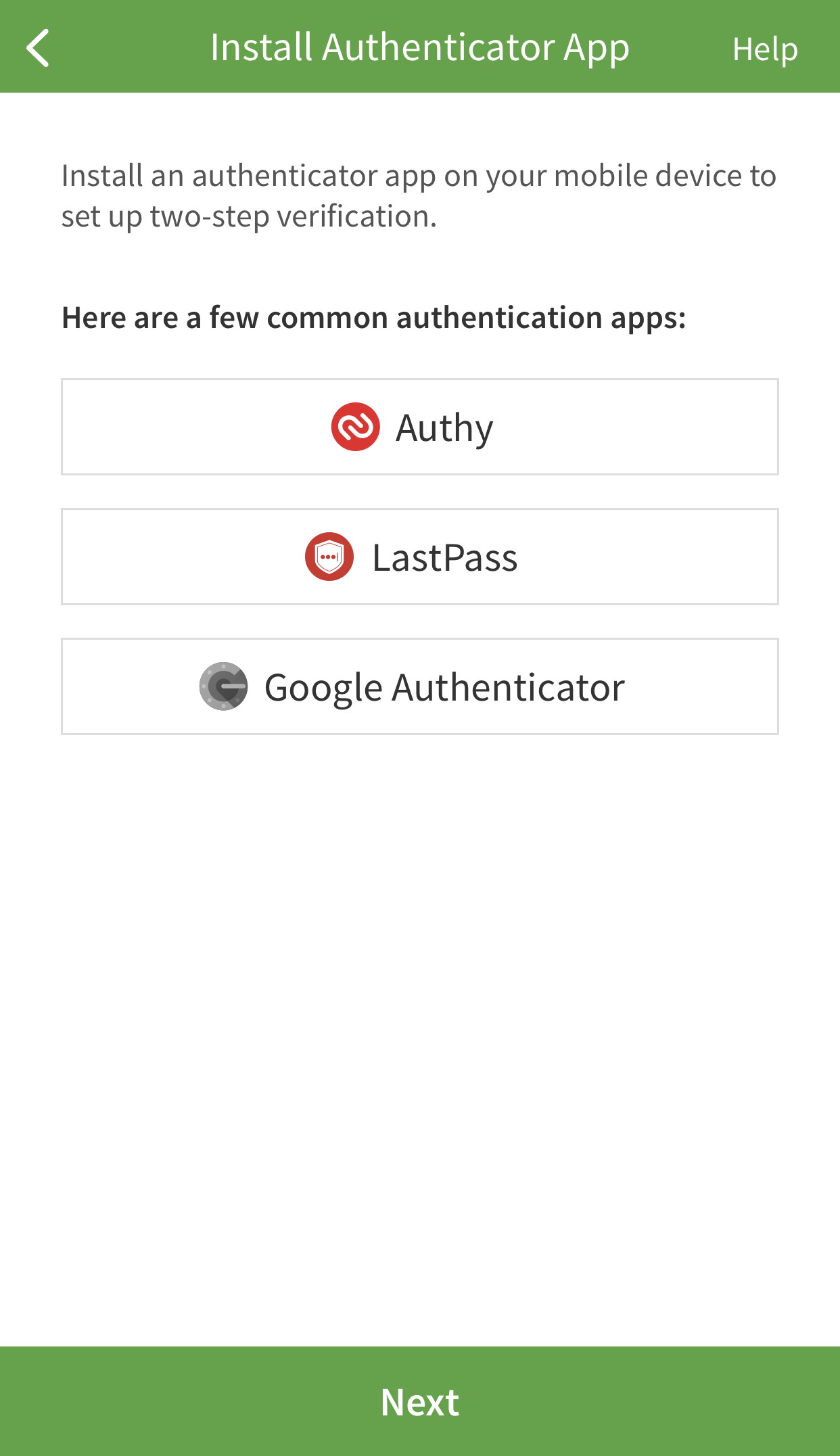 Authenticator App choices