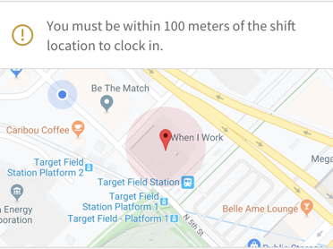 Map shown at clock in comparing user's GPS location to assigned location