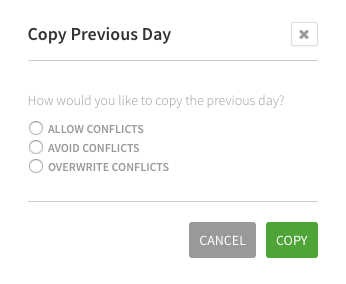 Copy Previous Day prompt