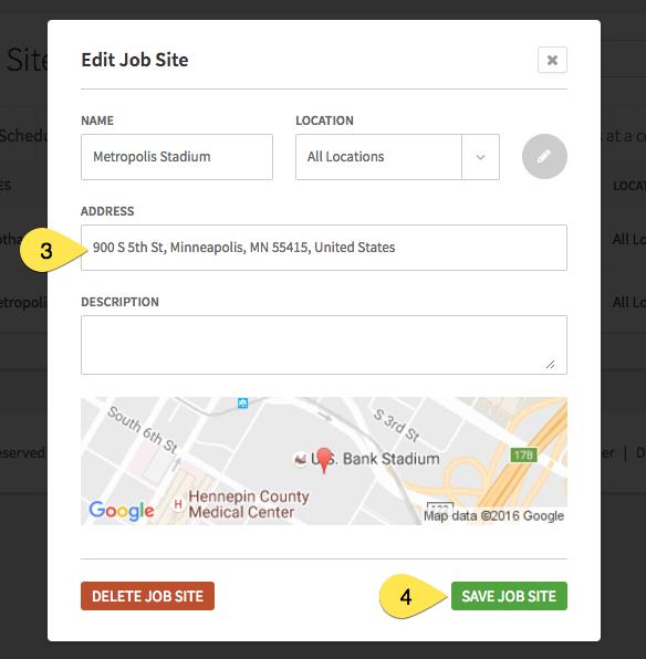 Edit Job Site page