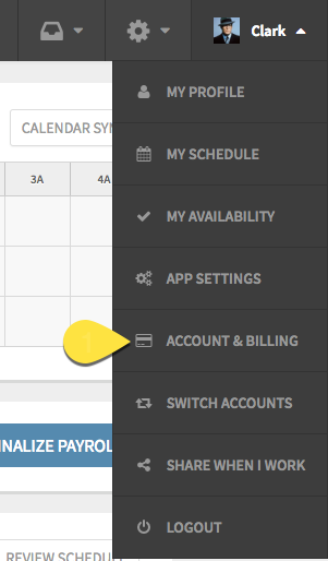 Account & Billing page callout under the profile menu on the toolbar
