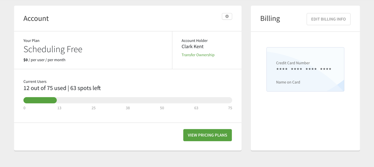 Account & Billing page