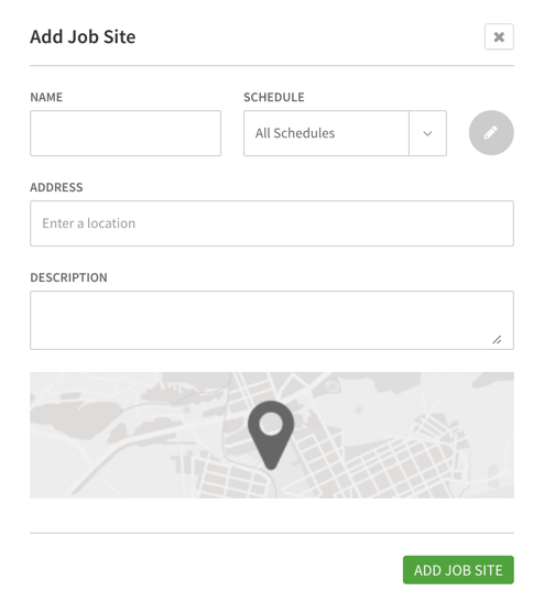 Add job site menu