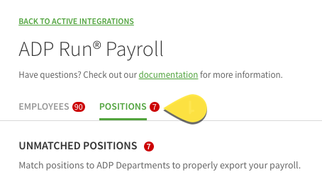ADP positions tab
