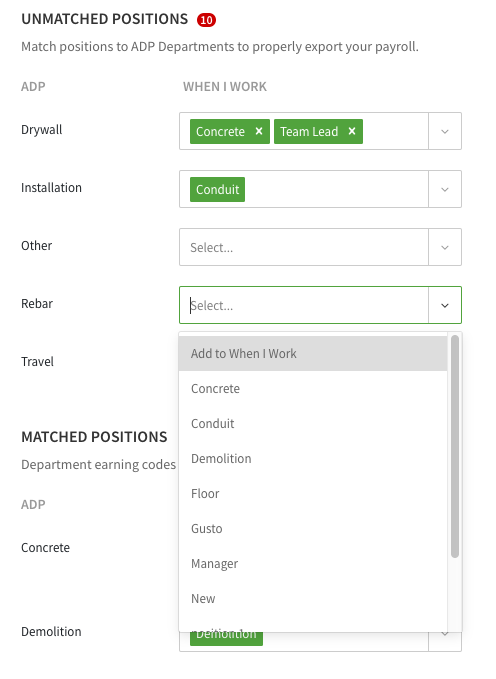 Positions drop down menu