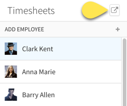 Export time sheets button