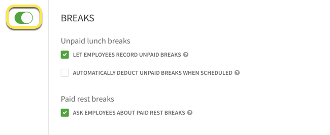 Breaks toggle called out in Attendance Settings
