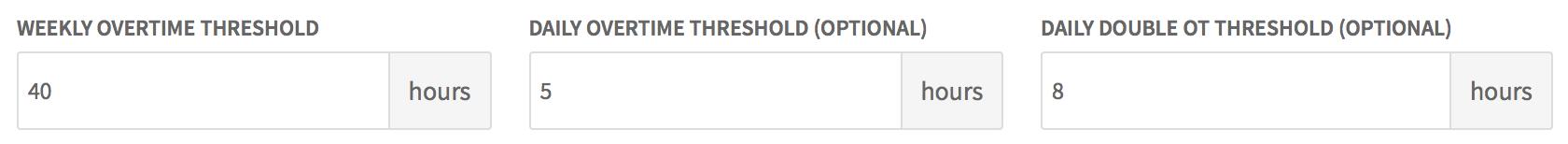 Overtime thresholds