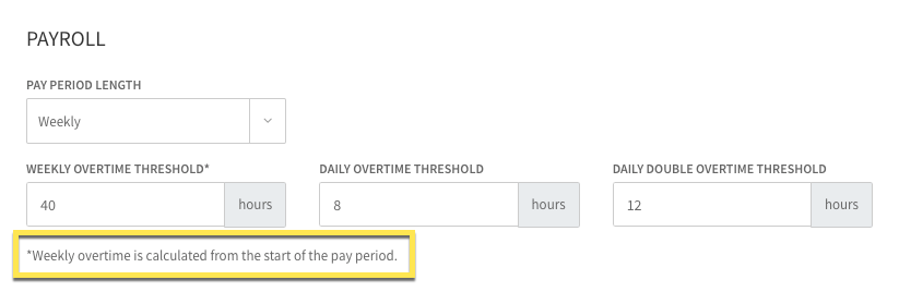 Payroll Settings Start of Overtime Week
