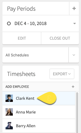 Timesheets column callout