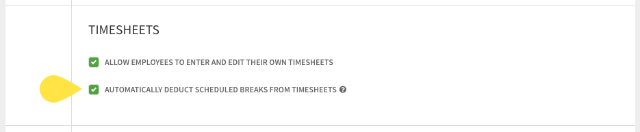 Timesheets app settings