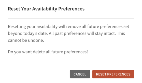 Reset Your Availability Preferences confirmation