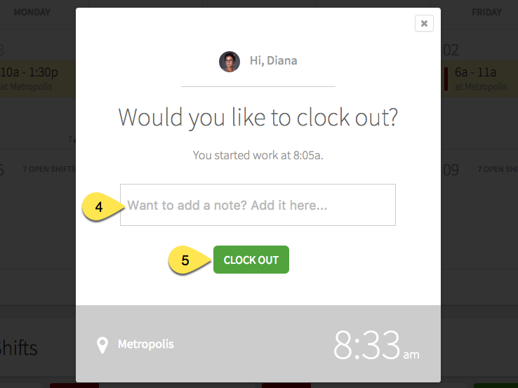 Clock out prompt
