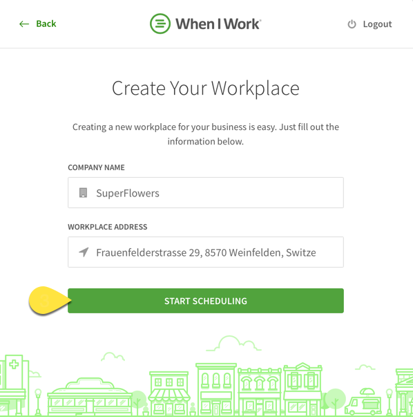 Create your workplace page with Start Scheduling called out