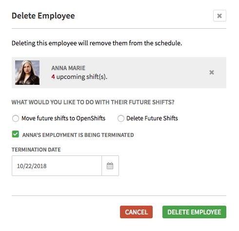 Delete employee prompt