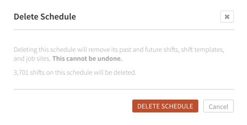Delete Schedule confirmation
