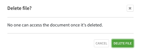 Confirm document delete