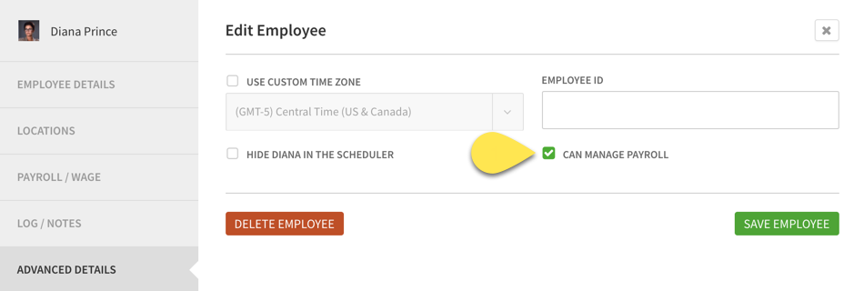 Can Manage Payroll checkbox