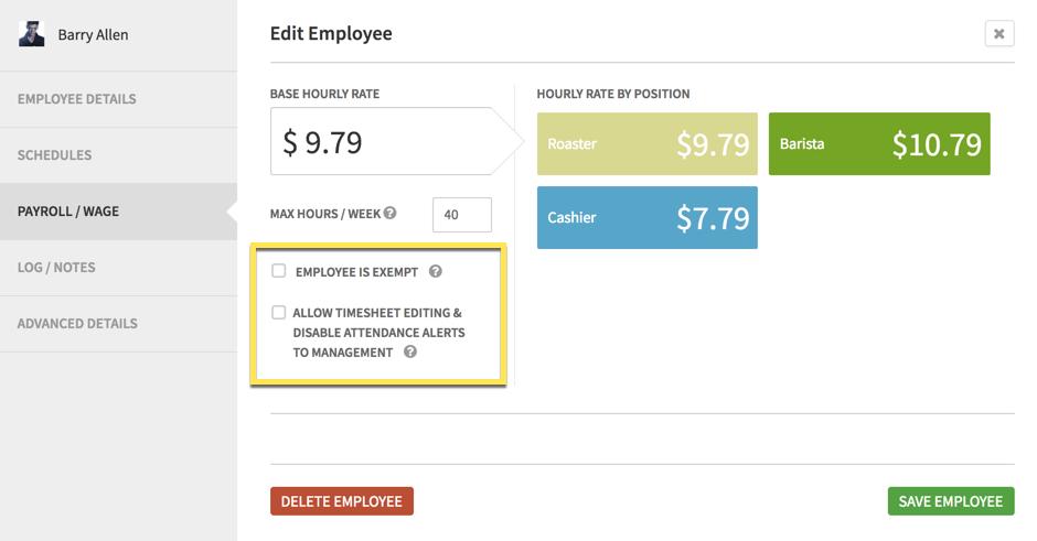 Edit payroll / wage tab