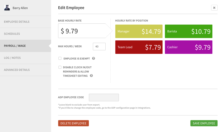 Edit employee payroll/wage information