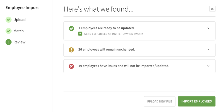 Employee upload dialog review page