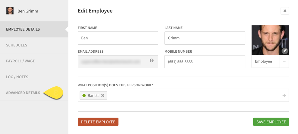 Advanced Details callout on Employee Profile