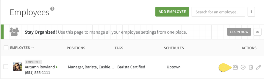 Icon to navigate to an employee's schedule