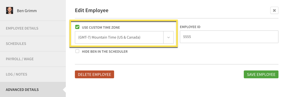 Use Custom Time Zone in Advanced Details