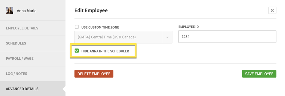 Checkbox for Hide in the Scheduler