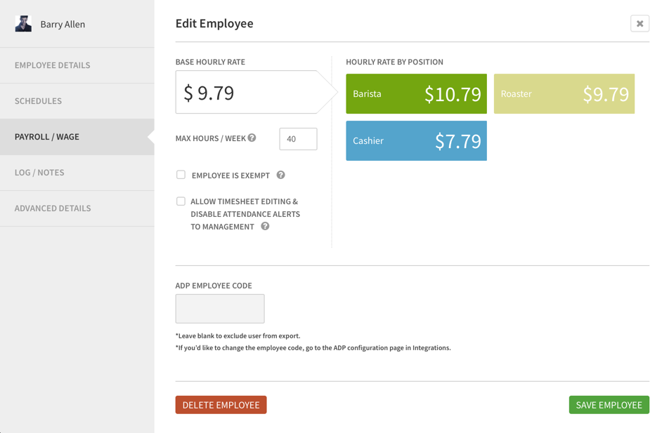 Payroll/Wage tab of employee details