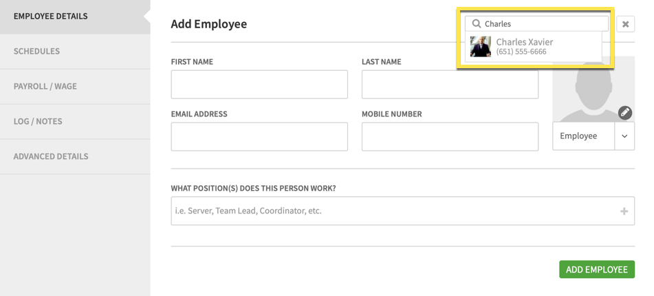 Reactivate employee search on Add Employee screen
