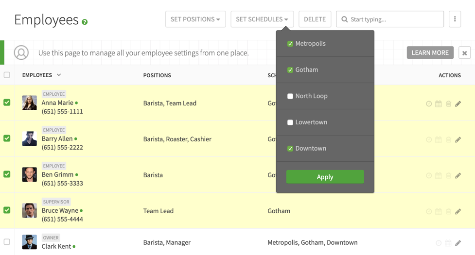 Set schedules for users on the employees page