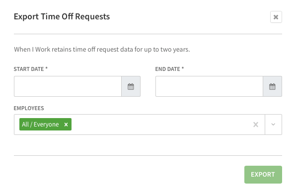 Time off requests export screen