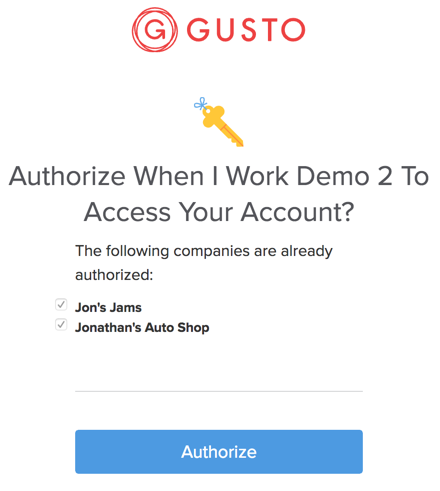 Authorize When I Work in Gusto