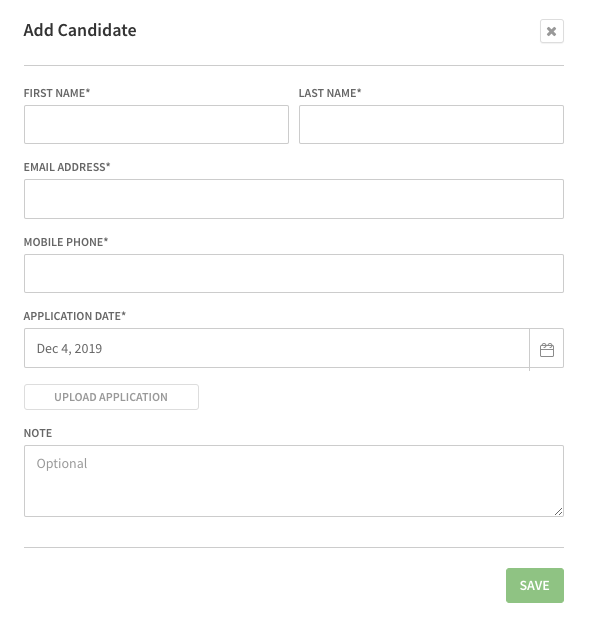 Candidate information dialog