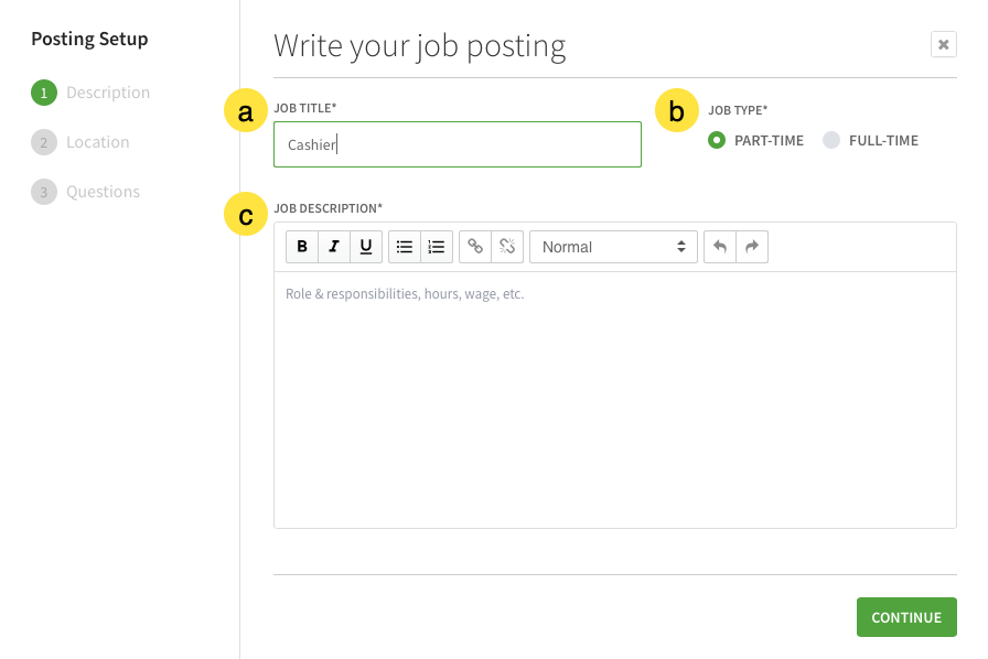 Write your job posting screen with callouts