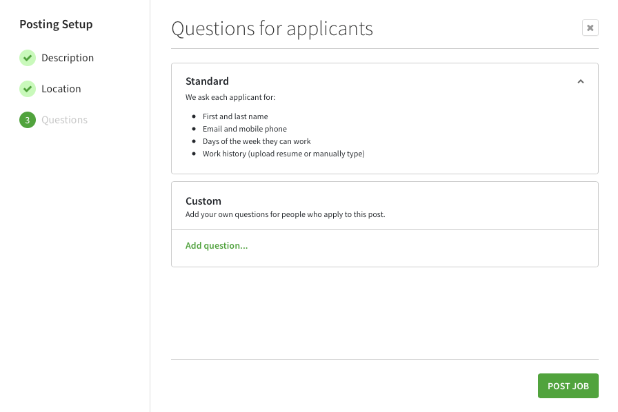 Questions for applicants screen when creating a job posting