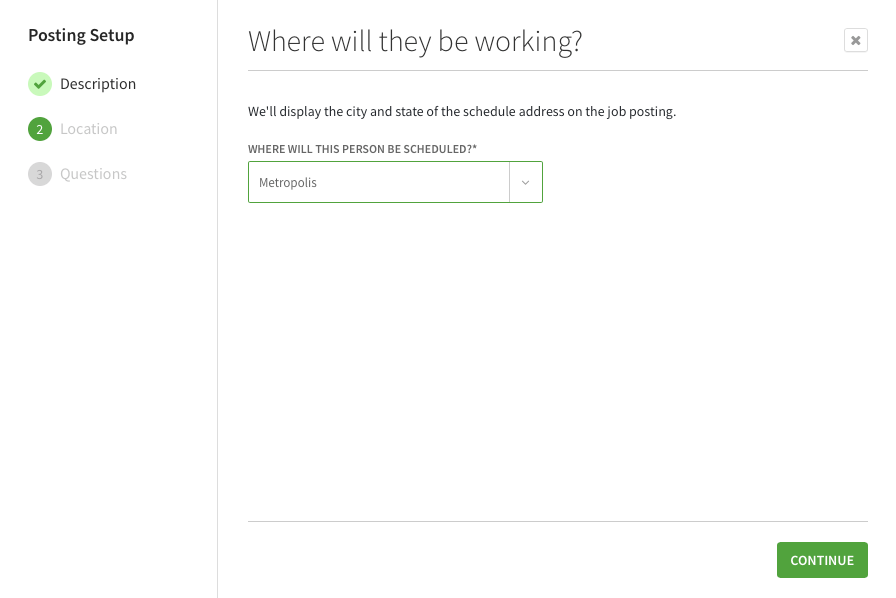 Where will they be working screen while creating a job posting