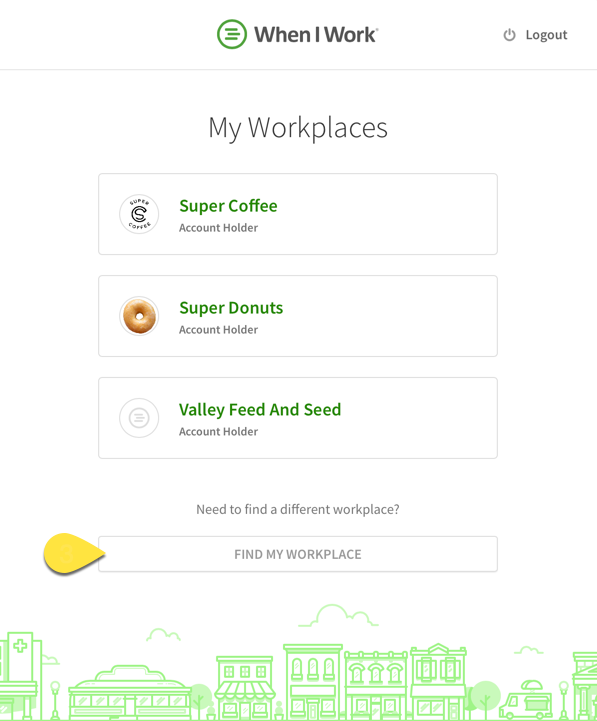 Find my workplace callout on the My Workplaces page