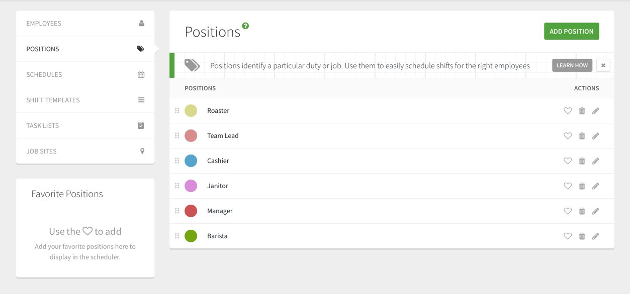 positions page