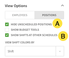 View options menu in positions view called out