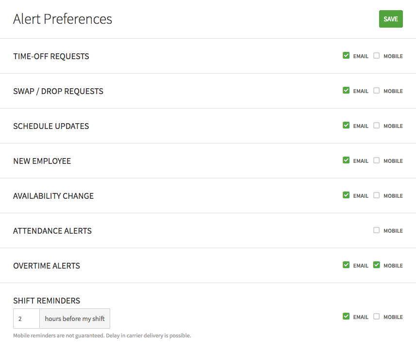 Alert Preferences for managers