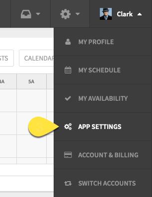 App Settings Under Profile Menu