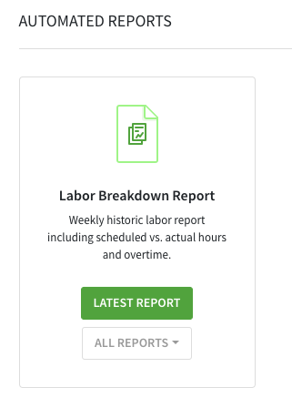 Automated reports section