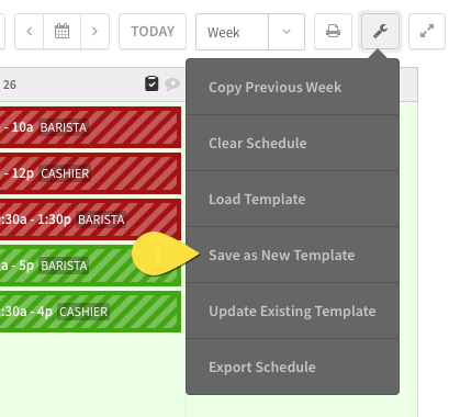 Save schedule template