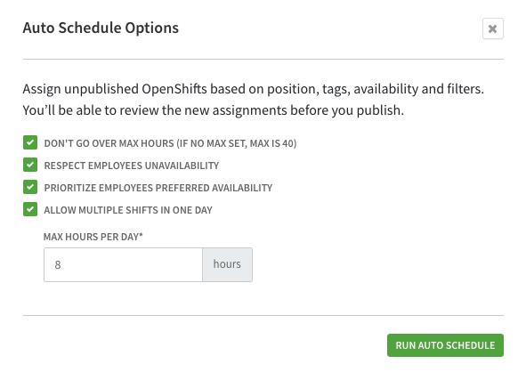 Configure auto schedule