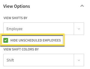 Hide unscheduled employees